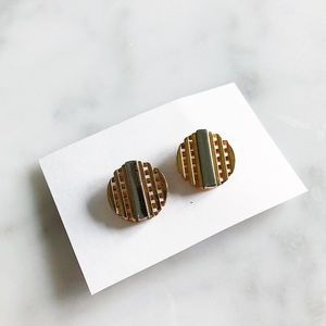 Vintage Two Tone Gold Silver Clip On Stud Earrings